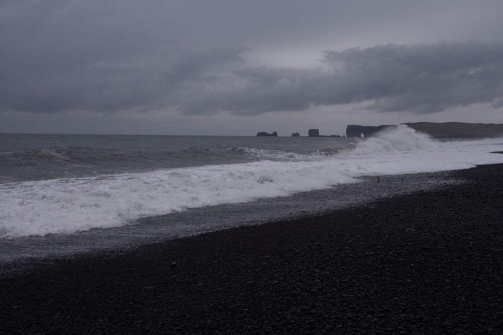 The unusual black volcanic beach of Reynisfjara