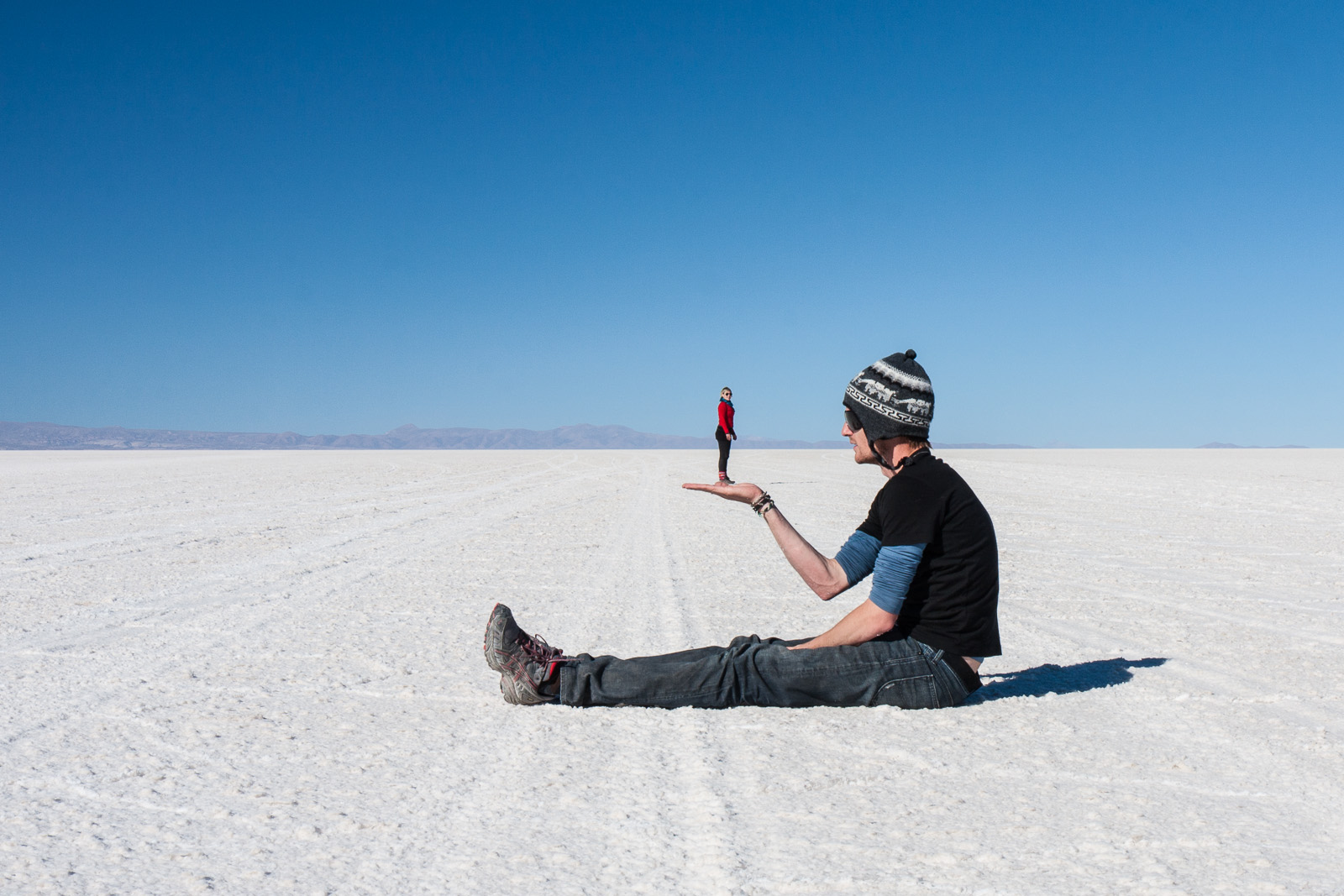 The near perfect flatness and vast size of the salar gives the brain a hard time when interpreting perspective, a fact tourists have loved for years.