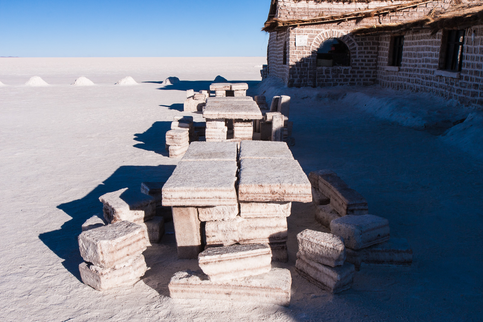 A salt hotel is no idle title – The building is made of salt, the table and chairs are made of salt, the beds are even made of salt.