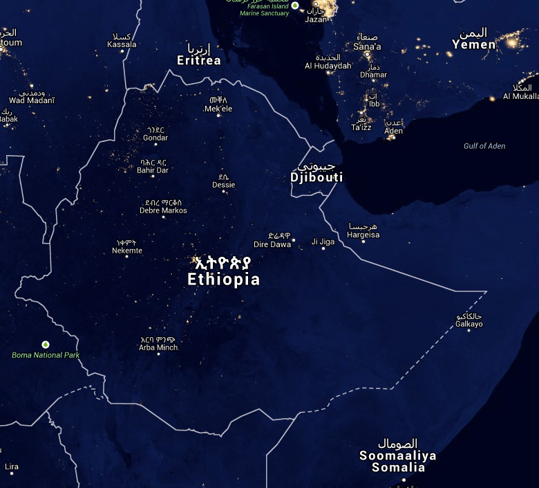 Yellow is light pollution and blue is darkness: Jazan on the top border is typical of towns and cities. In the northwest of Ethiopia we'll have no problems with light. The only light sources are from lava.