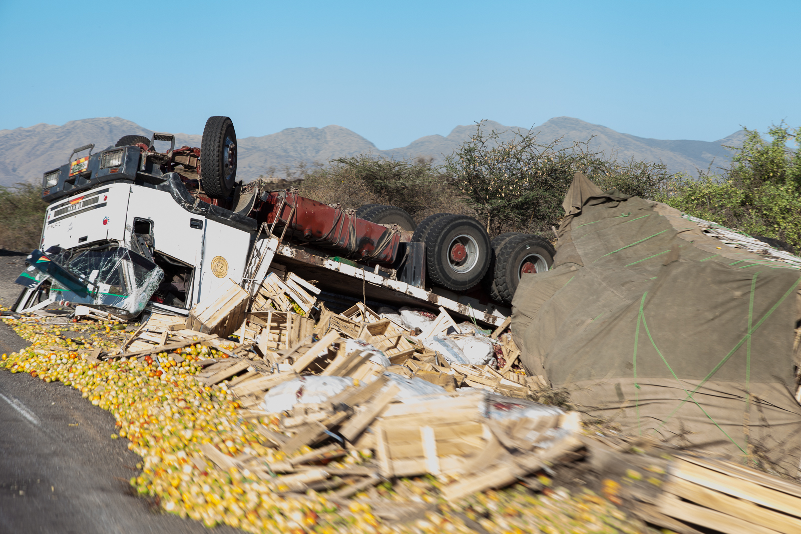 On the first day of driving we saw in the region of 20 overturned trucks. [Click to enlarge]