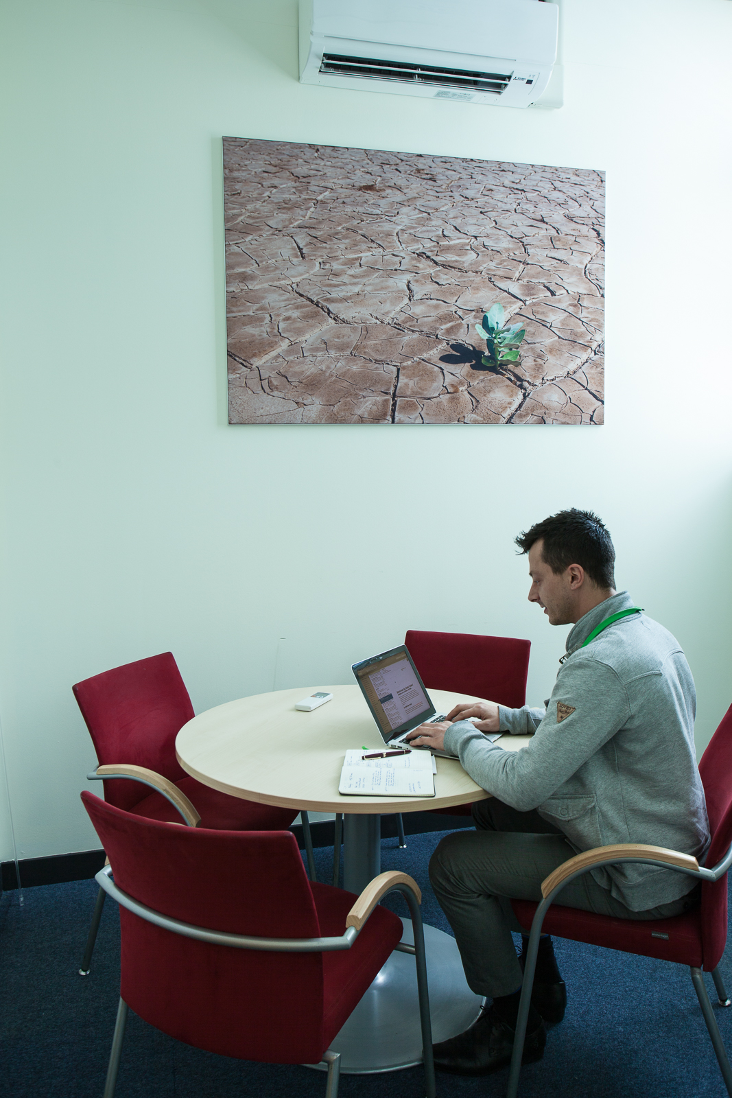 Meeting rooms can be clinical places often decorated as an afterthought, if at all. Add a feature image (and maybe a potted plant or two) and even small rooms can feel more welcoming. [Click to enlarge]