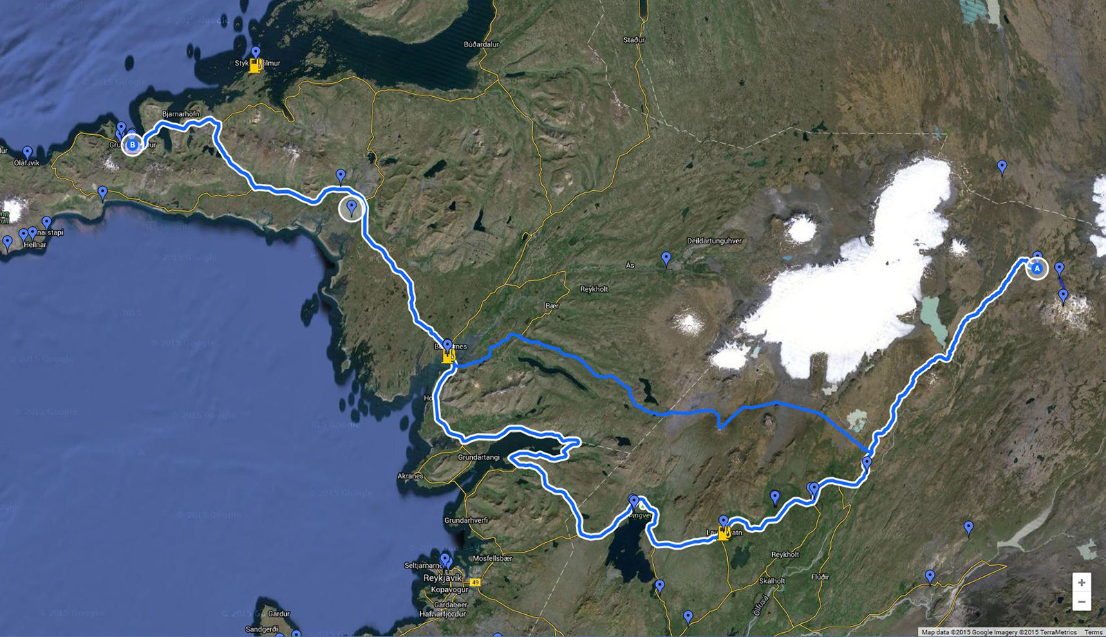 Google Maps chose the blue line as the 'best' route between Kerlingarfjoll and Grundarfjordur, but best for whom? Reseach and local knowledge suggests the longer, but safer route in blue/white. [Click to enlarge!]