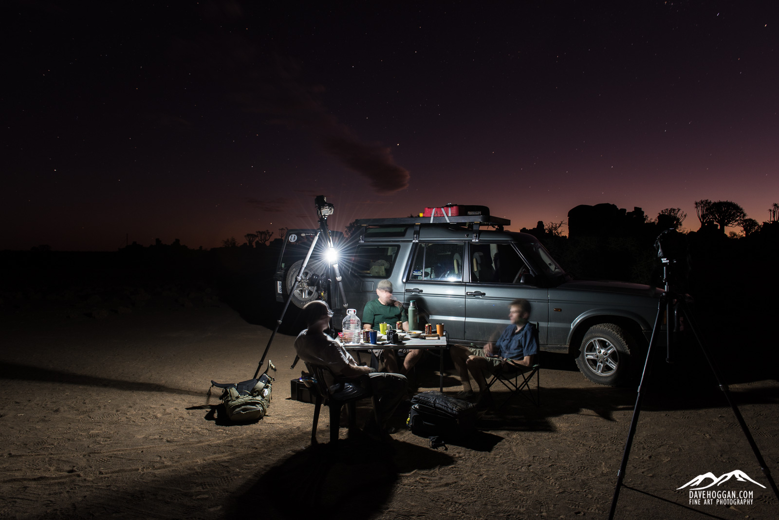 Dinner on location whilst waiting for sunset to become night…
