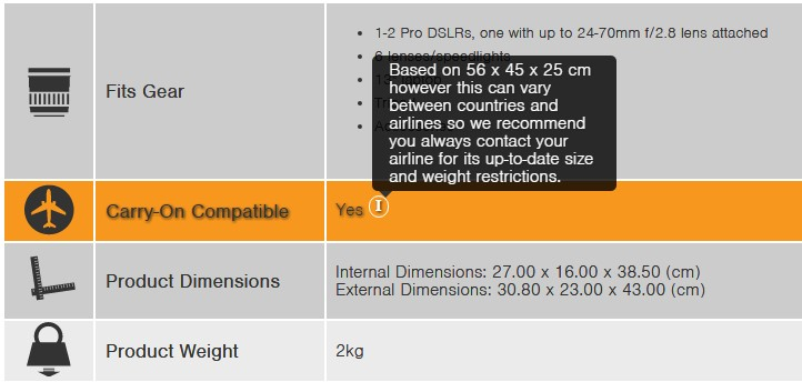 Many manufacturers provide helpful guidance on cabin compatibility but beware, they may not be using the same standard size as your airline.