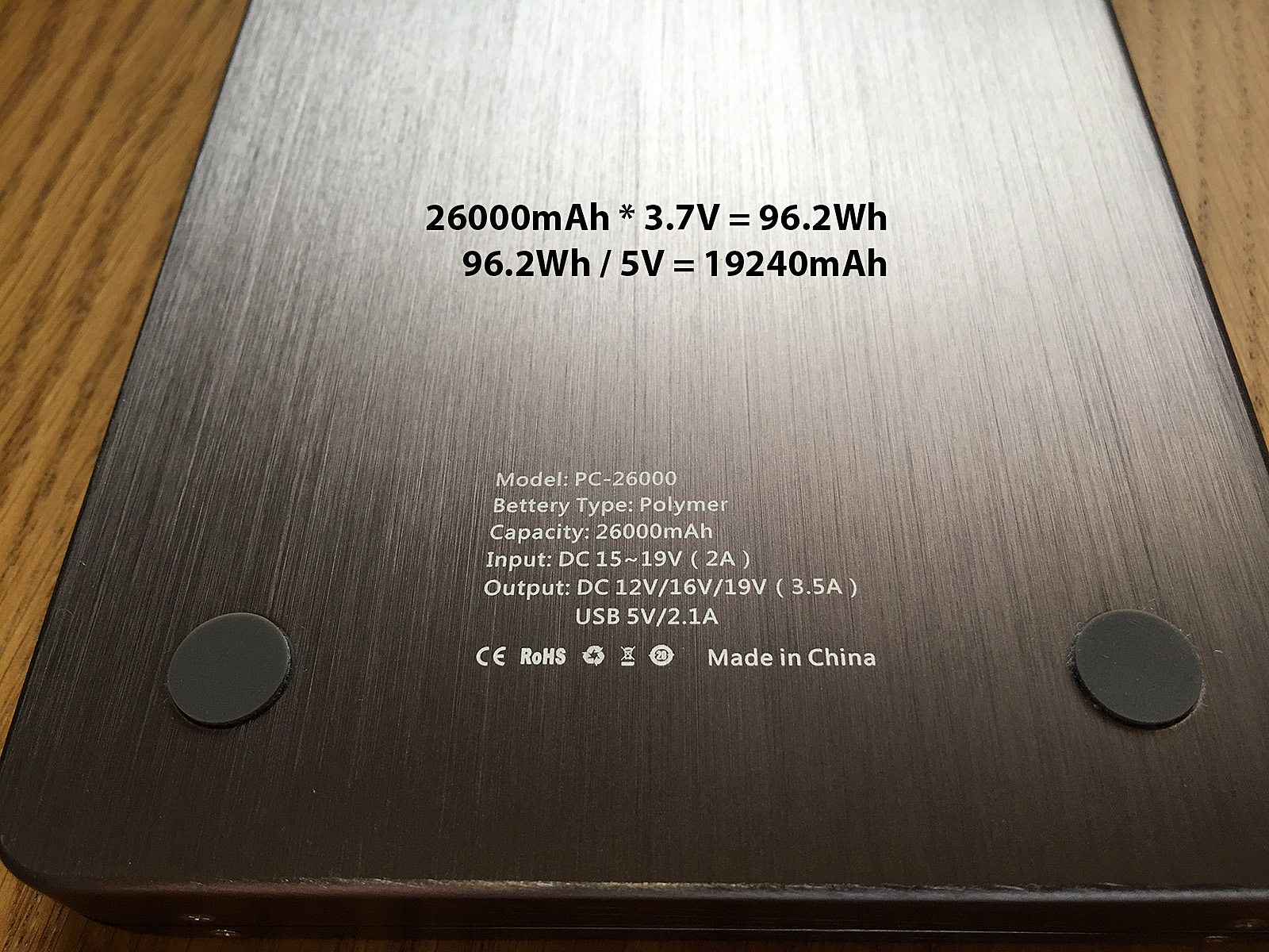 The Intocircuit battery pack specifies a 'capacity' of 26000mAh, but this isn't really what you get. It is not a lie, but, like most other manufacturers, they are using an industry standard that you won't be.