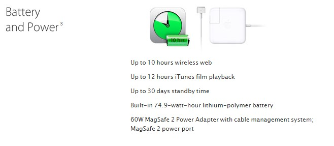 Apple are helpful in that they specify the watt-hour (Wh) of their devices.