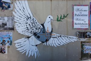 'Armoured Dove of Peace' by Banksy. [Bethleham, Palestine]