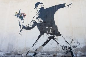 'The Flower Thrower' by Banksy. [Bethlehem, Palestine]